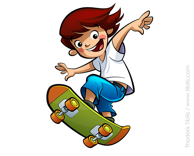 Skateboarding cartoon characters